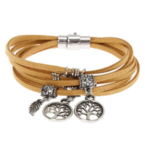 Silver Tree Of Life Wrap Bracelet - Brown,