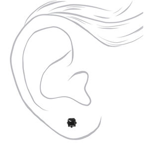 Black Cubic Zirconia Square Stud Earrings - 4MM,