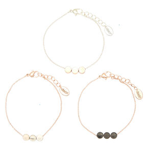 Mixed Metal Disk Statement Bracelets - 3 Pack,