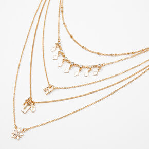 Gold Mixed Celestial Chain Multi Strand Necklace,