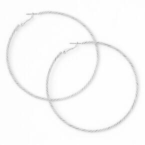 Silver 80MM Laser Cut Twisted Hoop Earrings,
