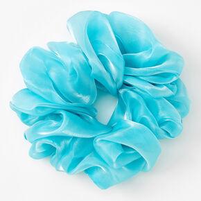 Giant Shiny Hair Scrunchie - Aqua,