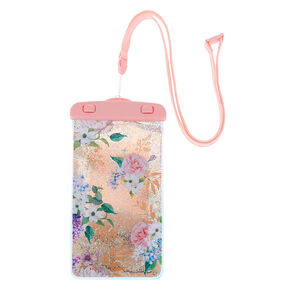 Floral Shaky Glitter Waterproof Phone Pouch - Pink,
