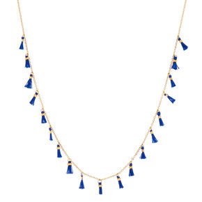 Gold Blue Tassel Statement Necklace,