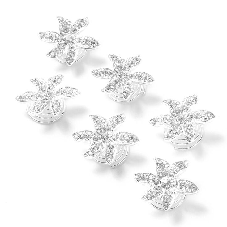 Pavé Rhinestone Flower Hair Jewels Set of 6,