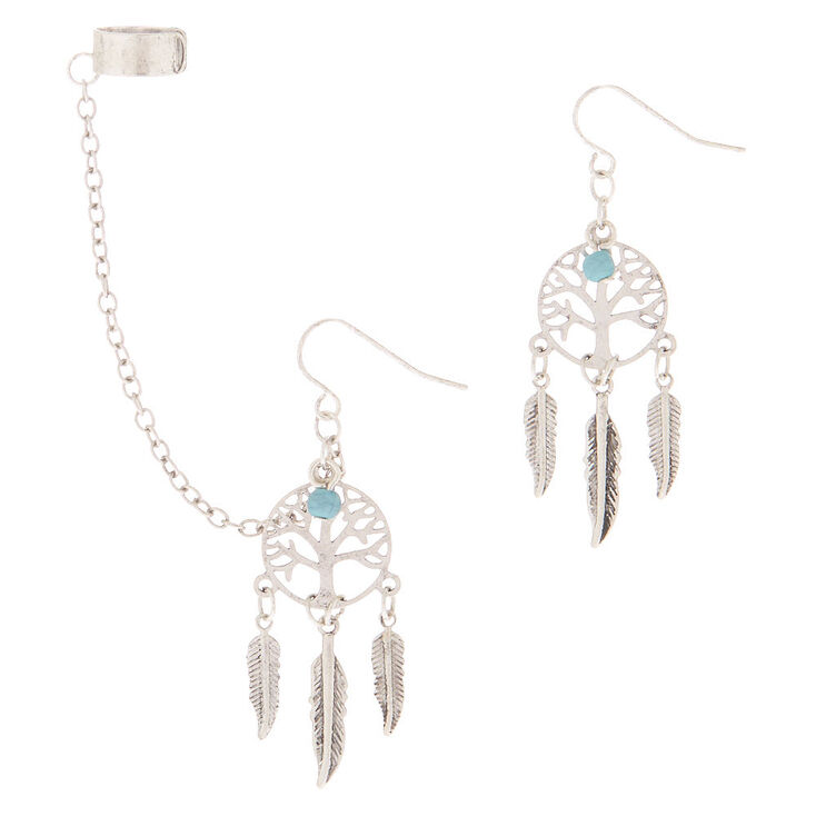 Silver Dreamcatcher Connector Earrings,