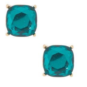 Square Stud Earrings - Emerald,