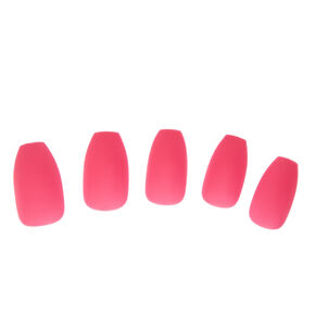 Pink Matte Finish Coffin Instant Nails,