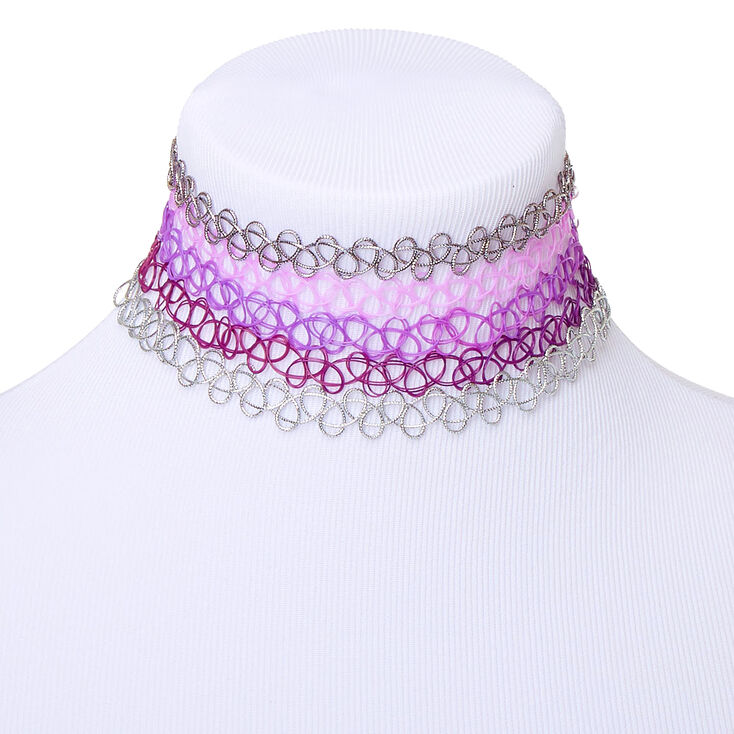 Tattoo Choker Necklaces - Purple, 5 Pack,