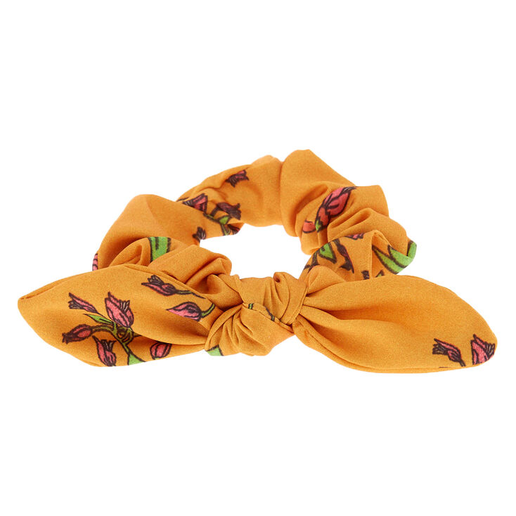 Rose Print Silk Bow Hair Scrunchie - Orange,