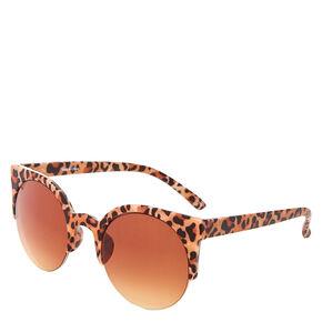 Retro Leopard Print Rubber Sunglasses,