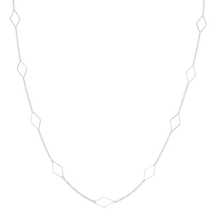 Long Silver Diamond Shapes Necklace,