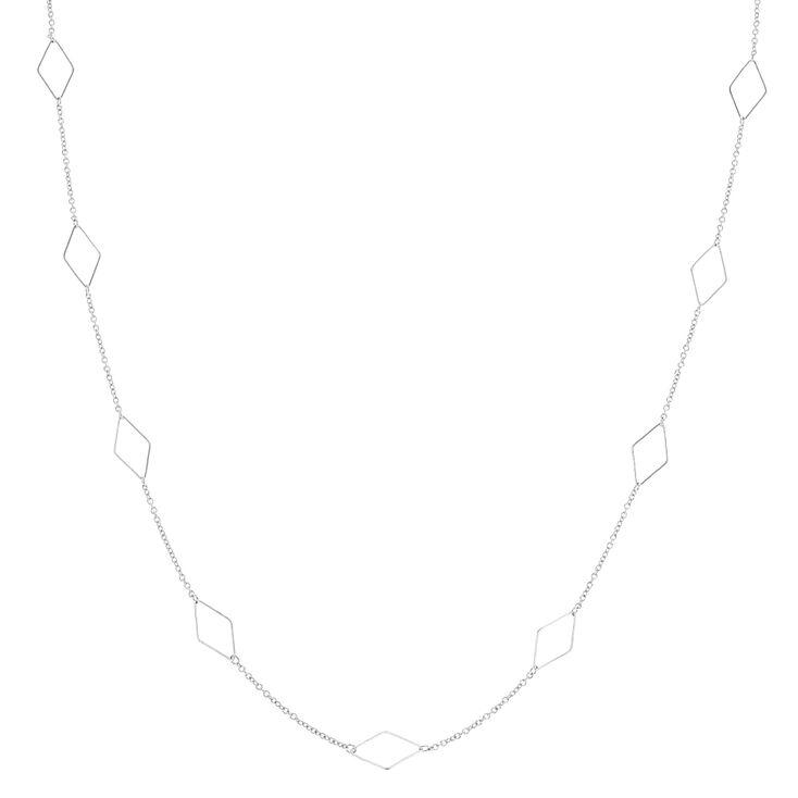 Long Silver Diamond Shapes Necklace,
