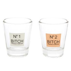 Number 1 & Number 2 Bitch Friends Forever Shot Glass Set - 2 Pack,
