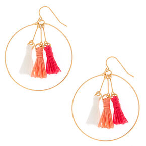 Pink and Coral Tassel Circle Drop Earrings,