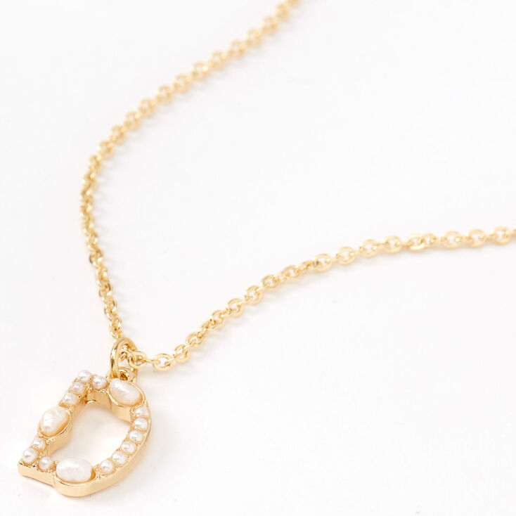 Gold Pearl Initial Pendant Necklace - D,