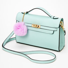 Pastel Pom Pom Crossbody Satchel - Mint Green,