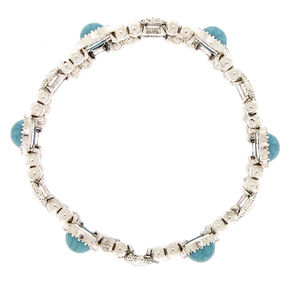 Antique Silver Teardrop Stretch Bracelet - Turquoise,