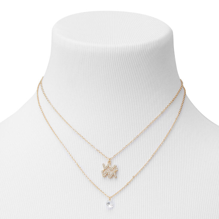 Gold Cubic Zirconia Zodiac Multi Strand Necklace - Aquarius,