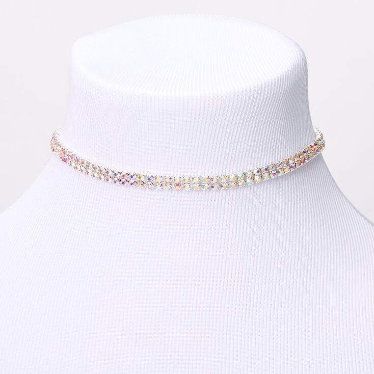 Silver Aurora Borealis Rhinestone Double Row Choker Jewelry Set - 3 Pack,