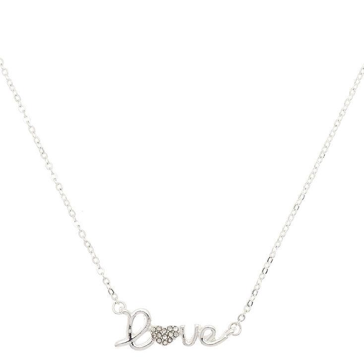Silver Love Script Pendant Necklace,