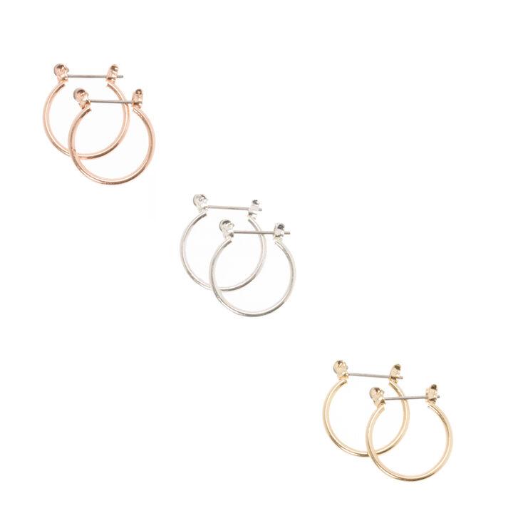Mixed Metal Stud & Mini Hoop Earrings,