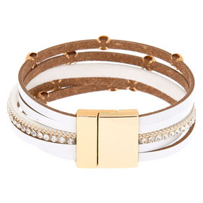 Gold Layered Wrap Bracelet - White,