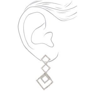 """Silver Rhinestone 2"""" Triple Diamond Drop Earrings,"""