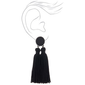 "Double Tassel 3"" Drop Earrings - Black,"