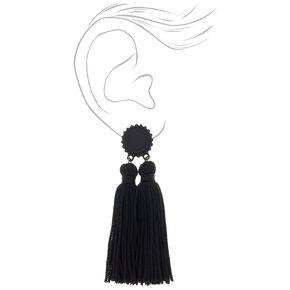 """Double Tassel 3"""" Drop Earrings - Black,"""