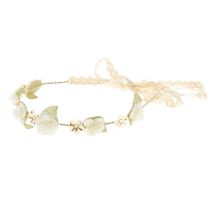 Gold Crochet Flower Crown Headwrap - Ivory,