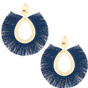 "Gold 4"" Oval Tassel Drop Earrings - Navy,"