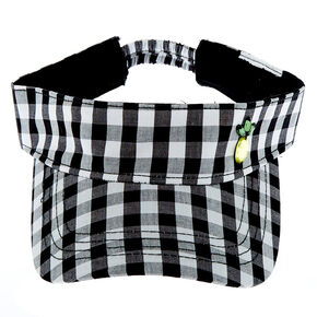 Gingham Print Visor - Black,