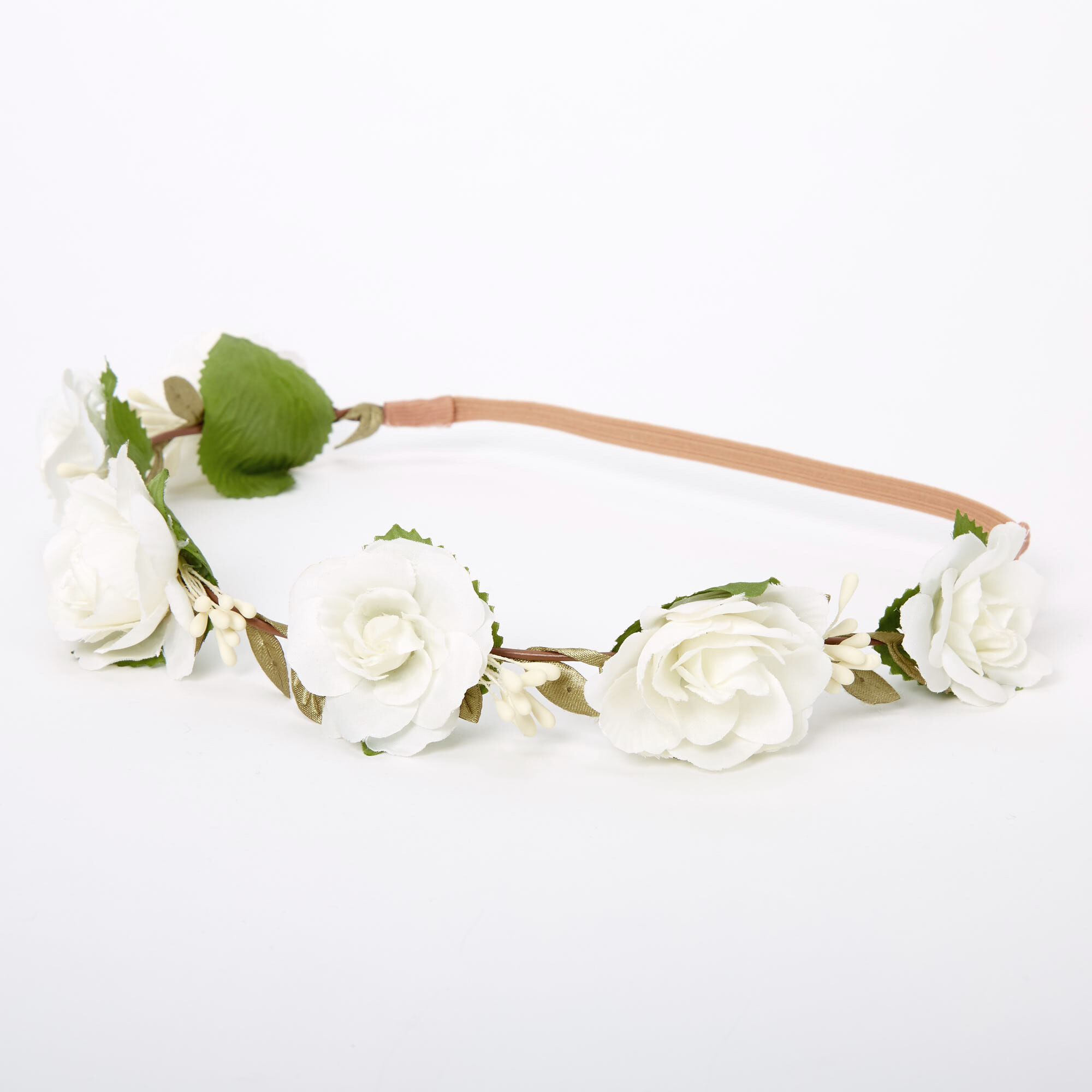 PINK OR WHITE ROSE FLOWER ELASTIC HEADBAND HEADWRAP