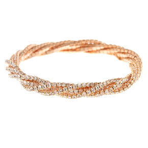 Rose Gold Rhinestone Twist Stretch Bracelet,