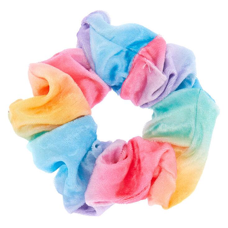 Medium Pastel Rainbow Velvet Hair Scrunchie,