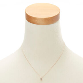 "Rose Gold Studded ""E"" Initial Necklace,"