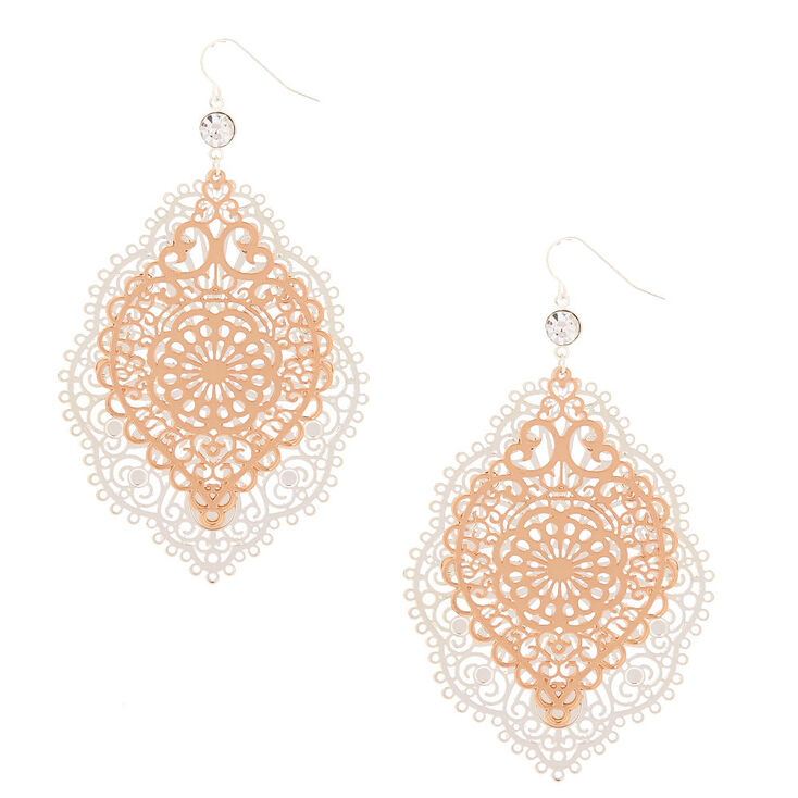 "Gold 3"" Filigree Drop Earrings,"