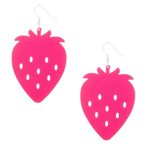 "Silver 2.5"" Strawberry Drop Earrings - Pink,"