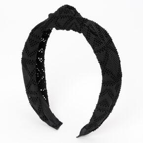 Filigree Perforated Knotted Headband - Black,