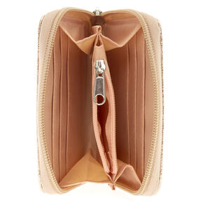 Midi Rose Gold Zip Around Wallet,
