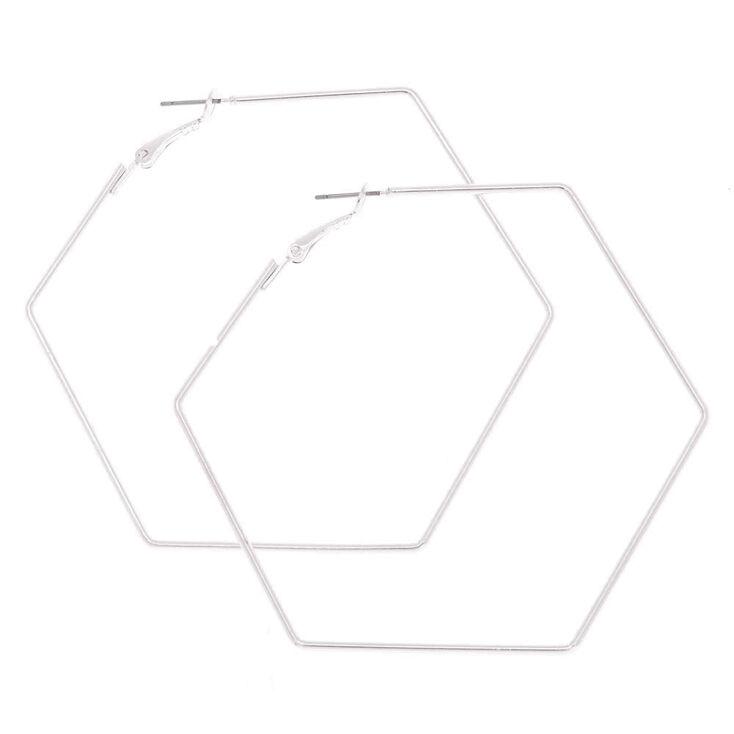 70MM Silver-Tone Hexagon Hoop Earrings,