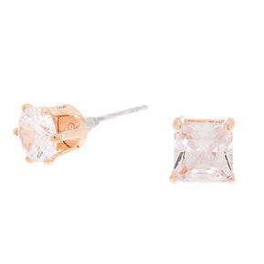 Rose Gold Cubic Zirconia 6MM Square Stud Earrings,