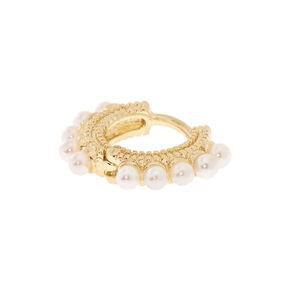 Gold Pearl Daith Earring,