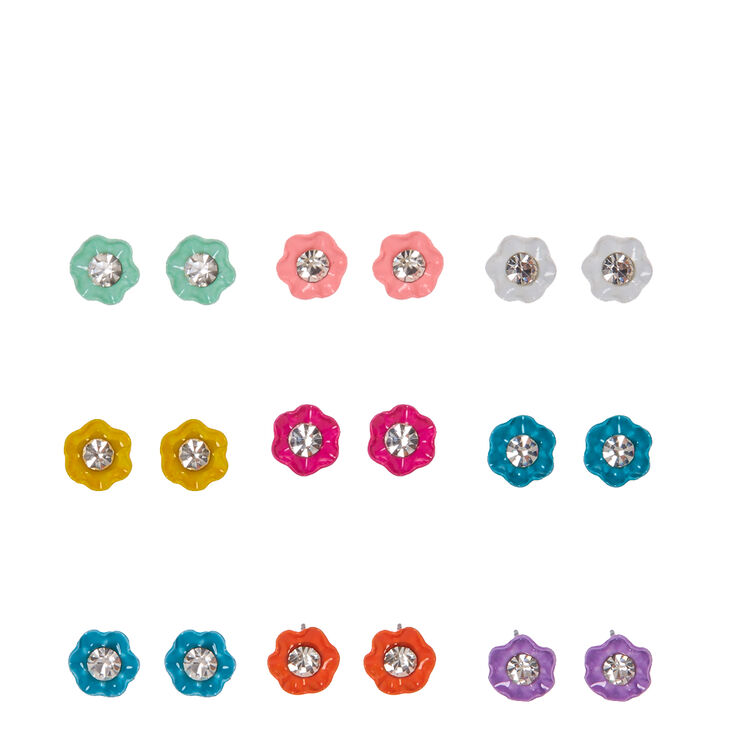 Multi-color Mini Flower Stud Earrings,