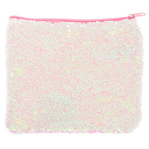 Iridescent to White Magic Sequin Makeup Bag,