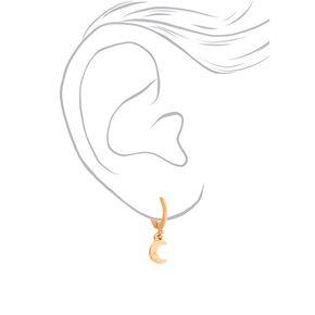 Gold 10MM Moon Huggie Hoop Earrings,
