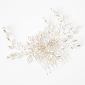 Silver Pearl Flower Hair Comb - White,