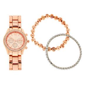 Rose Gold Boyfriend Watch Bracelet Set,