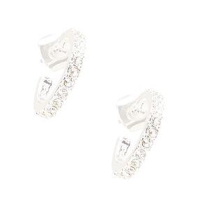 Silver Tone Rhinestone Studded Mini Hoop Earrings,